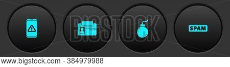 Set Mobile With Exclamation Mark, Identification Badge, Bomb Ready To Explode And Spam Icon. Vector