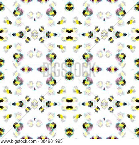 Seamless Animal Print Leopard. Drawn By Hand Exotic Material Design. Yellow, Black And White. Animal