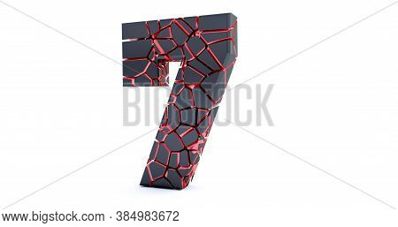 3d Render Of  Broken Number Isolated On White Background (number 7). Cracked 3d Number 7 Seven.