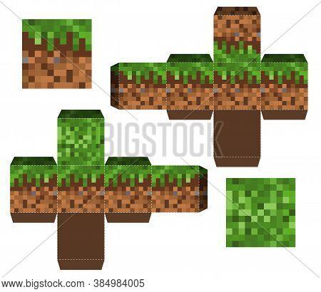 Papercraft Mini Dirt Block. Papercraft 5 Classic Blocks. Pixel Background. The Concept Of Games Back