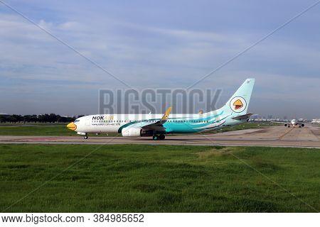 Don Muang, Bangkok, Thailand, June 6, 2018 : Boeing 737-8as Of Nokair Parking On The Runway To Prepa