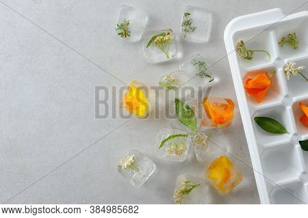 Floral Ice Cubes On The Gray Background With Ice Mold. Edible Flowers Frozen In Ice Cubes. Horizonta