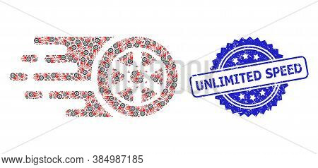 Unlimited Speed Rubber Seal Imitation And Vector Fractal Mosaic Bolide Car Wheel. Blue Stamp Seal In