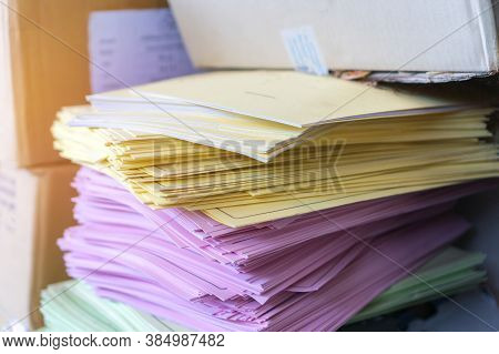 Stack Overload Documents Report Papers Research Classroom On Teacher Desk Waiting Approve From Advis
