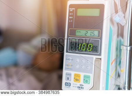 Patients Woman With Infusion Pump Infuses Fluids On Hands Medical Drip Intravenous Needle Saline Iv