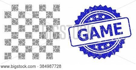 Game Unclean Seal Print And Vector Recursive Mosaic Chess Board. Blue Seal Includes Game Caption Ins