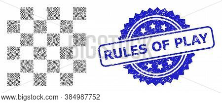 Rules Of Play Textured Stamp Seal And Vector Recursion Mosaic Chess Board. Blue Stamp Seal Contains