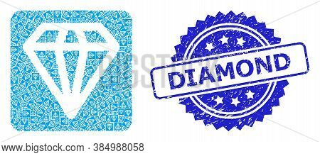 Diamond Unclean Stamp Seal And Vector Recursive Mosaic Diamond. Blue Stamp Contains Diamond Text Ins