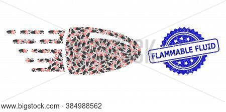 Flammable Fluid Unclean Seal Imitation And Vector Fractal Mosaic Flying Bullet. Blue Seal Has Flamma