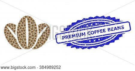 Premium Coffee Beans Textured Stamp Seal And Vector Fractal Mosaic Coffee Beans. Blue Stamp Seal Has