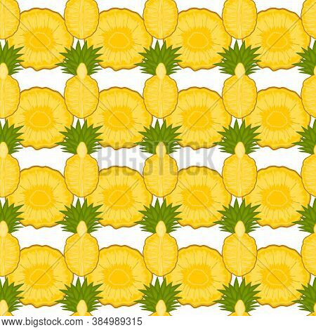 Illustration On Theme Big Colored Seamless Pineapple, Bright Fruit Pattern For Seal. Fruit Pattern C
