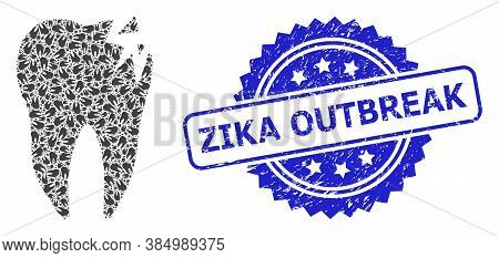 Zika Outbreak Dirty Stamp And Vector Recursion Mosaic Cracked Tooth. Blue Stamp Has Zika Outbreak Ta