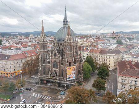 Vienna, Austria - Circa September 2018: Maria Vom Siege (meaning Saint Mary Of Health) Church Aerial