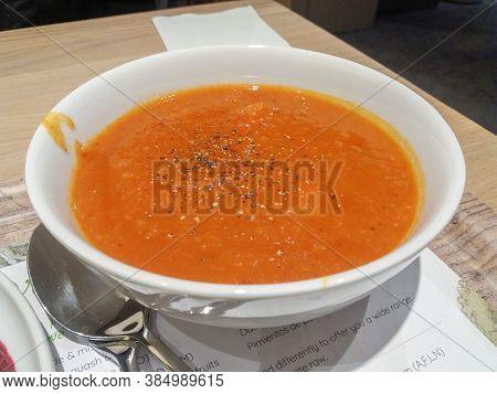 Wien, Austria - Circa September 2018: Tomato Soup Bowl