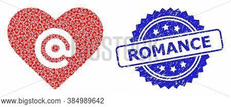 Romance Grunge Stamp Seal And Vector Recursive Mosaic Dating Heart Address. Blue Stamp Has Romance C