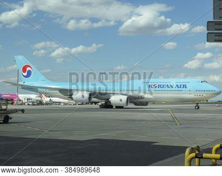 Prague, Czech Republic - Circa July 2016: World 2nd Biggest Passenger Aircraft Boeing 747 Jumbo Of T