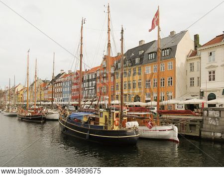 Copenhagen, Denmark - Circa June 2016: Pictorial View Of The Old Port Nyhavn (actually Meaning  New