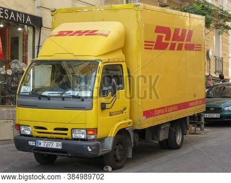 Madrid, Spain -  Circa June 2015: Dhl Deutsche Post Van Parked In A Street Of The City Centre. Dhl I