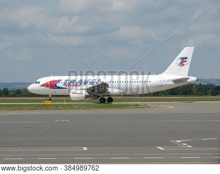 Ostrava, Czech Republic - Circa July 2017: Travel Service Airbus A320 On The Runway Ready For Take O