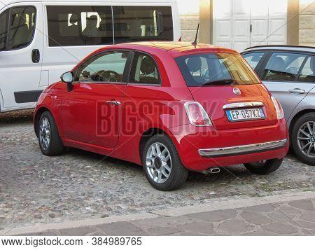 Bergamo, Italy - Circa July 2017: Red Fiat New 500 Car