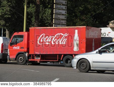 Toledo, Spain - Circa October 2017: Coca Cola Van For Delivering Coke Bottles And Cans To Stores