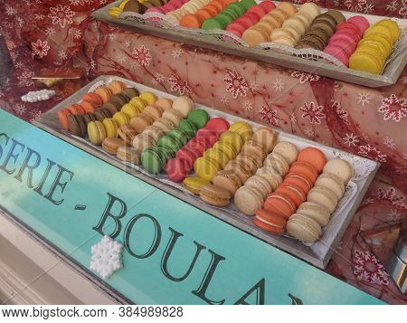Prague, Czech Republic - Circa December 2017: Macaroon Biscuits On Display For Sale In A Shop