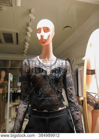 Rome, Italy - Circa October 2018: Underwear And Nightwear Store With A Mannequin