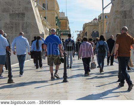 Valletta, Malta - Circa May 2019: Crowd Of People At The Main Gate Of The Old Town