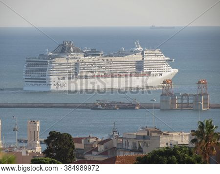Cagliari, Italy - Circa October 2019: Msc Divina Cruiseship In Front Of The Harbour
