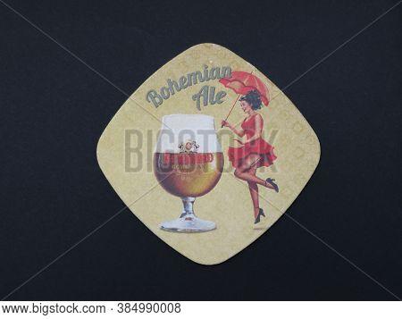 Prague, Czech Republic - Circa March 2020: Bernard Bohemian Ale Cardboard Beermat