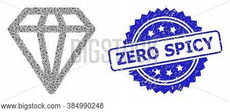 Zero Textured Seal Print And Vector Fractal Mosaic Diamond. Blue Seal Has Zero Title Inside Rosette.