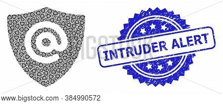 Intruder Alert Unclean Stamp Seal And Vector Recursive Mosaic Email Address Shield. Blue Seal Has In