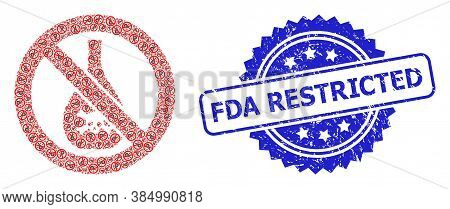 Fda Restricted Unclean Seal Imitation And Vector Recursive Collage Forbidden Chemicals. Blue Stamp S