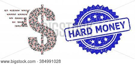 Hard Money Grunge Stamp Seal And Vector Fractal Composition American Dollar. Blue Stamp Seal Include