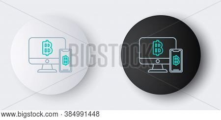 Line Computer Monitor With Mobile Phone And Bitcoin Icon Isolated On Grey Background. Online Shoppin