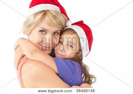 Mother And Daughter Together In Christmas Hats