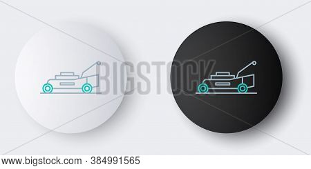 Line Lawn Mower Icon Isolated On Grey Background. Lawn Mower Cutting Grass. Colorful Outline Concept