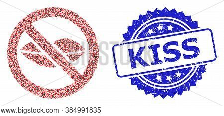 Kiss Scratched Stamp Seal And Vector Recursive Collage Forbidden Kiss. Blue Stamp Seal Includes Kiss