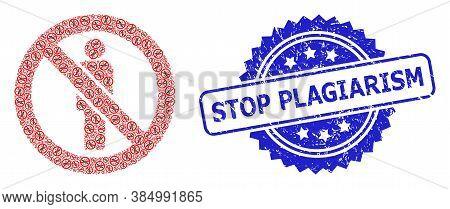 Stop Plagiarism Rubber Stamp Seal And Vector Recursive Composition Forbidden Man. Blue Stamp Seal Ha
