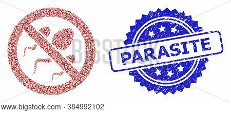 Parasite Scratched Stamp Seal And Vector Recursion Collage Forbidden Sperm. Blue Stamp Seal Contains