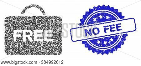 No Fee Grunge Seal Print And Vector Recursive Collage Free Case. Blue Seal Contains No Fee Text Insi