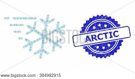 Arctic Corroded Seal And Vector Fractal Collage Frost Wind. Blue Seal Includes Arctic Caption Inside