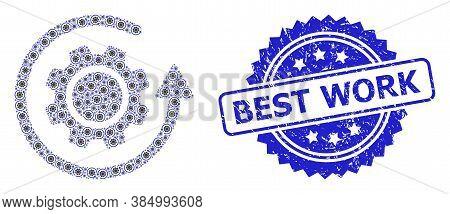 Best Work Textured Stamp And Vector Recursive Mosaic Gear Rotation. Blue Stamp Seal Has Best Work Ca