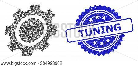 Tuning Rubber Stamp Seal And Vector Recursive Collage Gear. Blue Stamp Seal Contains Tuning Tag Insi