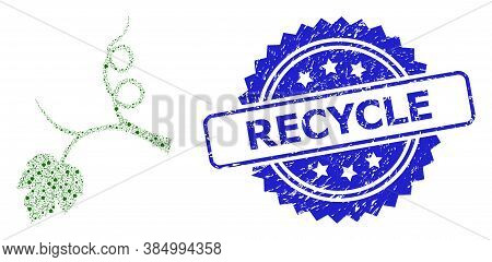 Recycle Rubber Seal Imitation And Vector Recursive Collage Grape Sprout. Blue Stamp Contains Recycle
