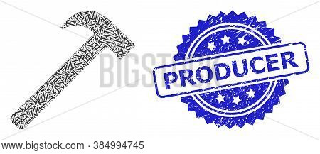 Producer Dirty Seal Print And Vector Fractal Mosaic Hammer Tool. Blue Seal Contains Producer Caption