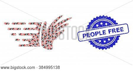 People Free Unclean Stamp Seal And Vector Fractal Composition Hand. Blue Stamp Seal Contains People
