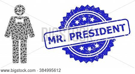 Mr. President Scratched Seal Imitation And Vector Recursive Collage Happy Mister. Blue Stamp Seal Ha