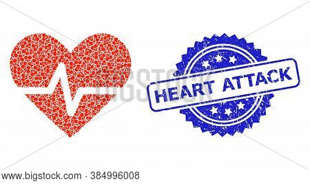 Heart Attack Scratched Stamp Seal And Vector Fractal Collage Heart Pulse. Blue Seal Contains Heart A
