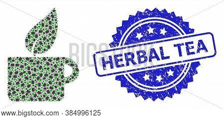 Herbal Tea Unclean Seal And Vector Fractal Collage Herbal Tea. Blue Seal Has Herbal Tea Tag Inside R